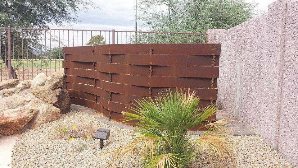 Custom Metal Pool Equipment Wall Terraverde Landscape